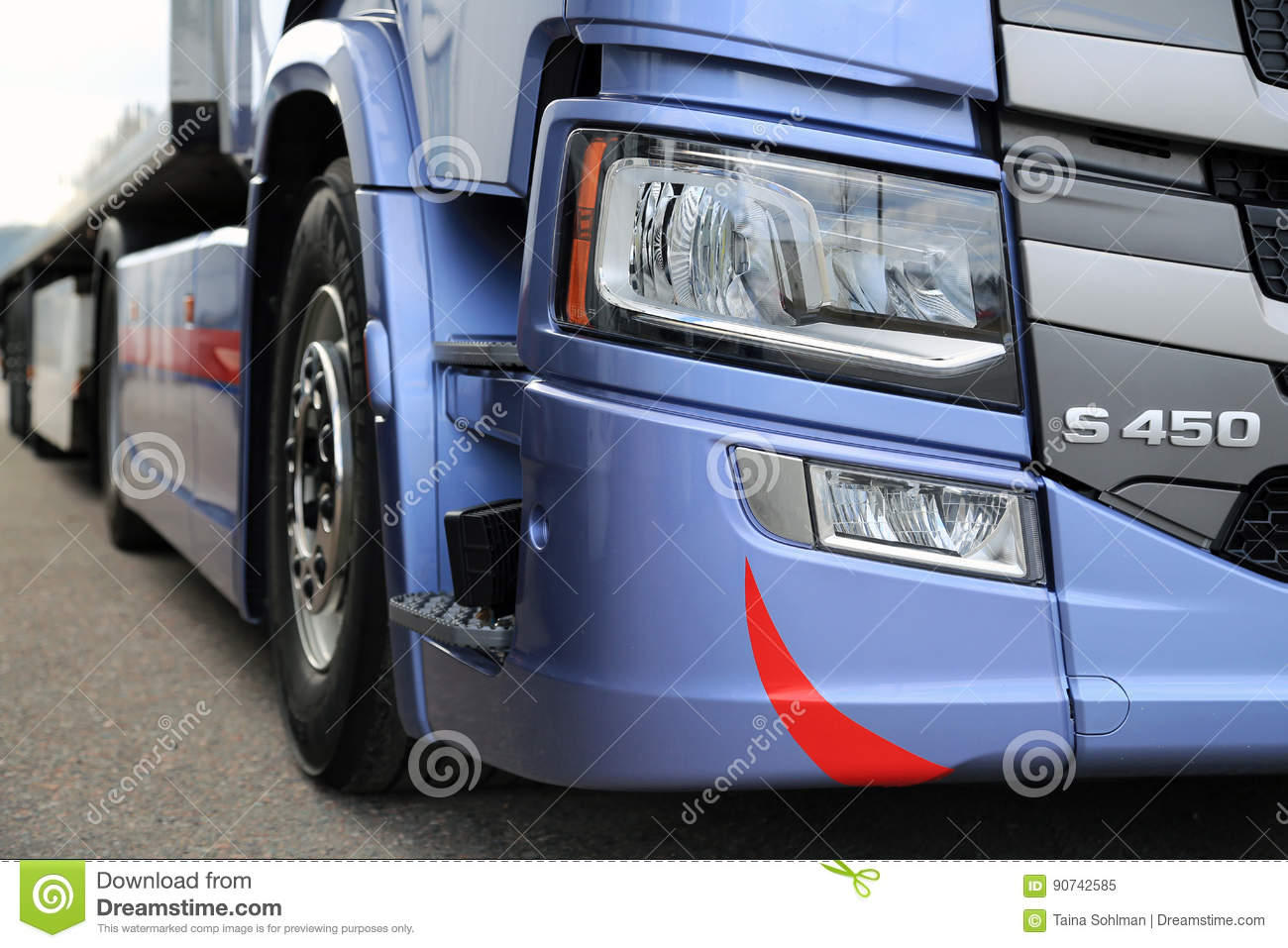 Detail Of Scania S450 Truck Headlight Editorial Image
