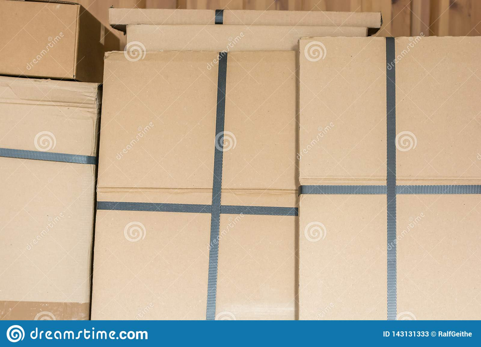 Stacked cardboard boxes in a warehouse