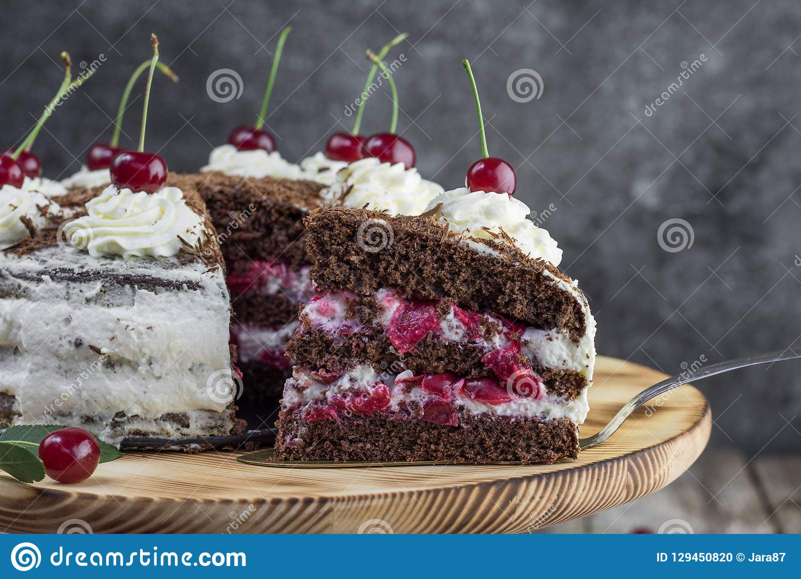 Detail on a Slice of a Black forest cake, or traditional austria schwarzwald cake from dark chocolate and sour cherries