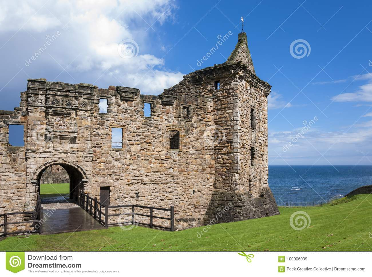 Detail of the St. Andrews Castle in the Royal Burgh of St Andrews in Fife, Scotland
