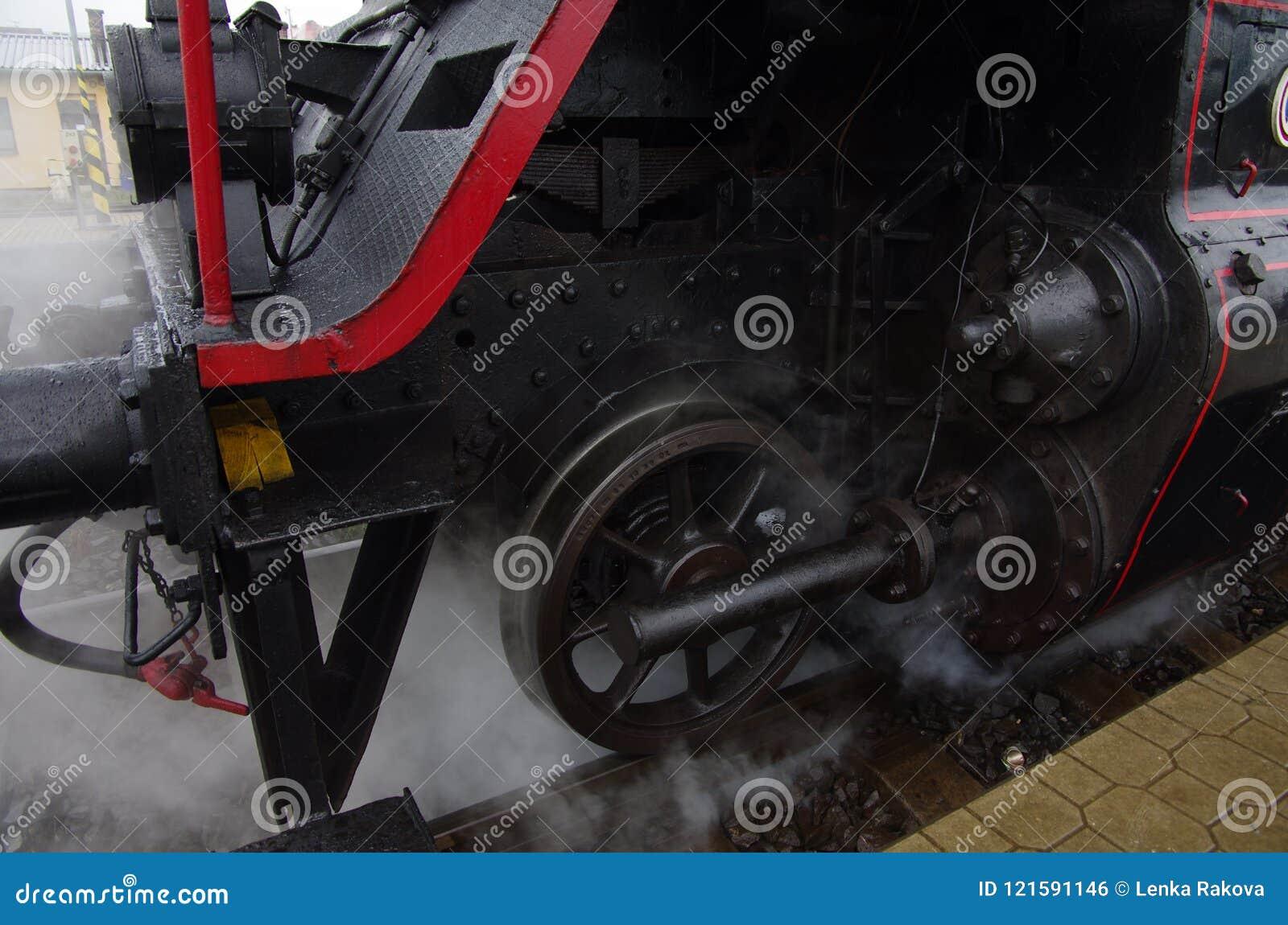 Detail of the steam locomotive