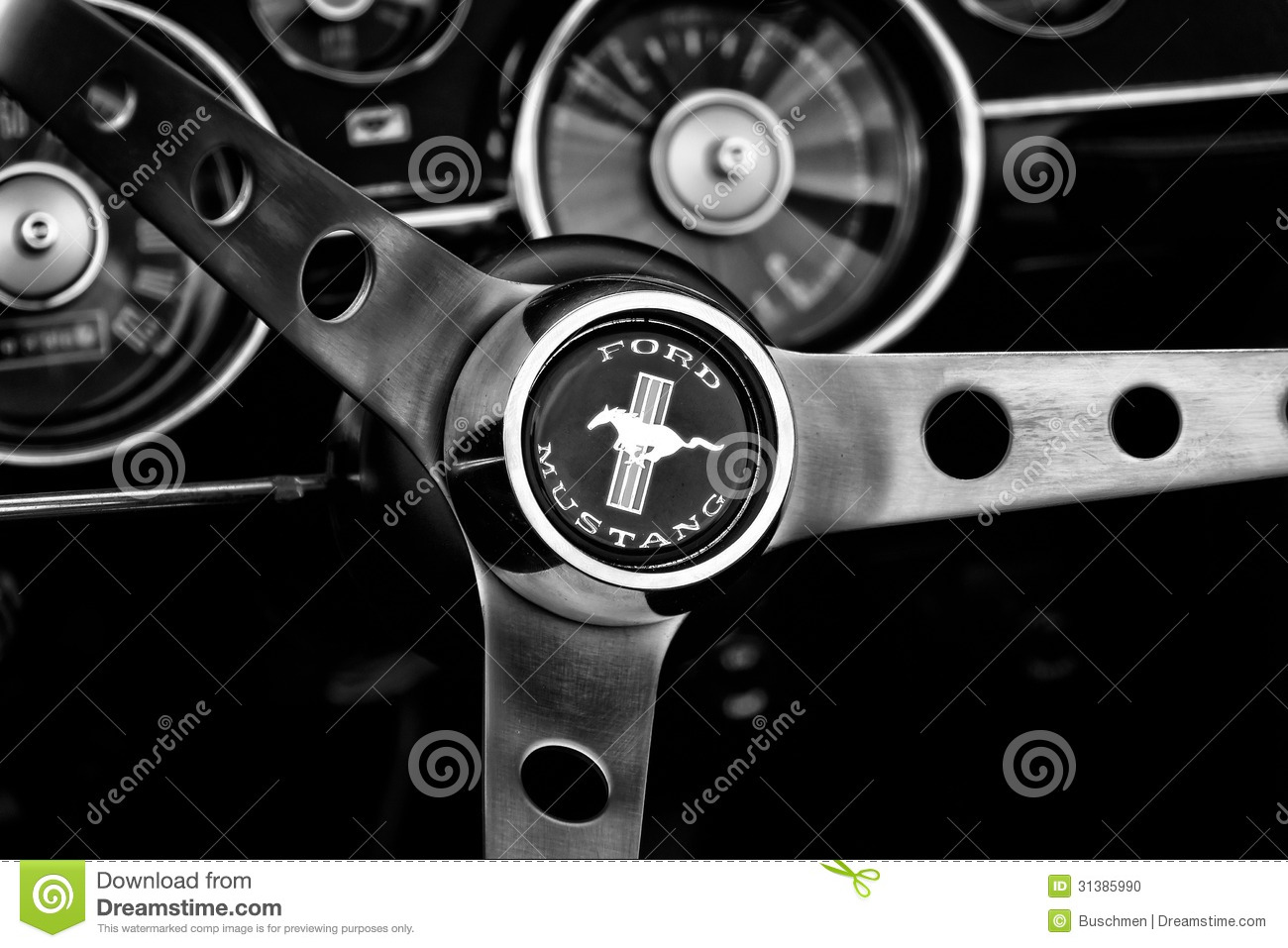 Detail Of The Steering Wheel And Dashboard Ford Mustang