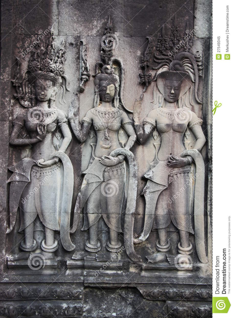 Detail of stone carvings in angkor wat cambodia royalty