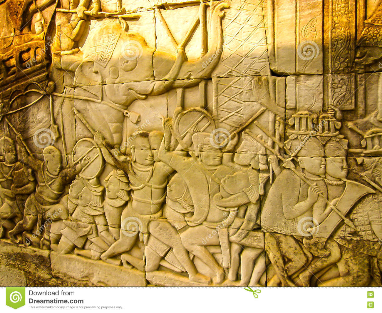 The detail of stone carvings in angkor wat cambodia