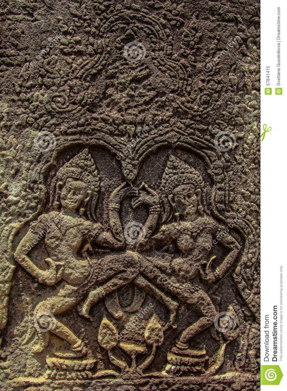 Detail of stone carvings in angkor wat cambodia stock