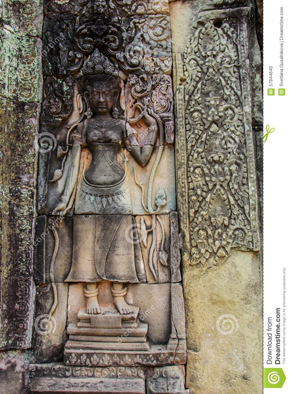 Detail of stone carvings in angkor wat cambodia