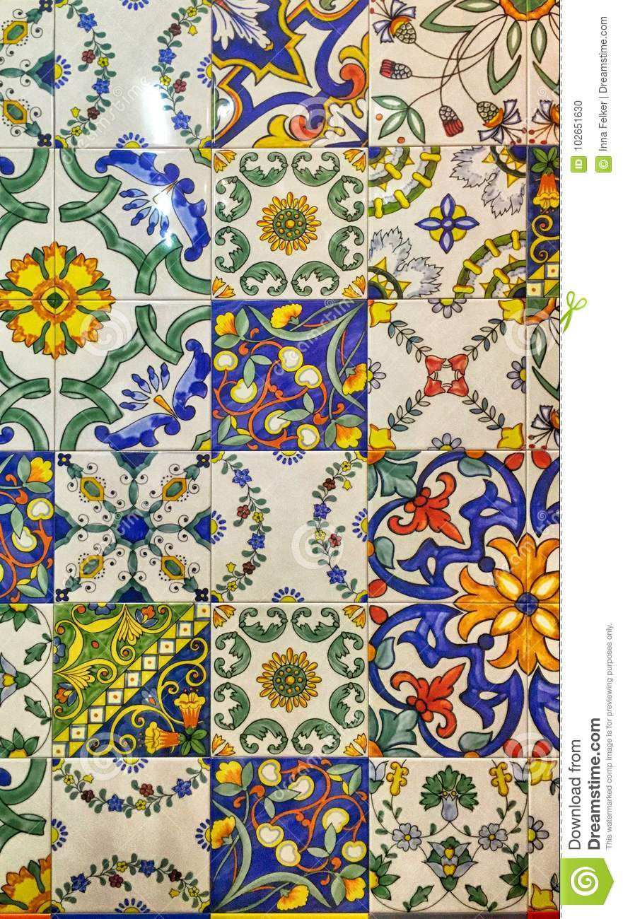 Detail of the traditional decorative tiles with majolica pattern