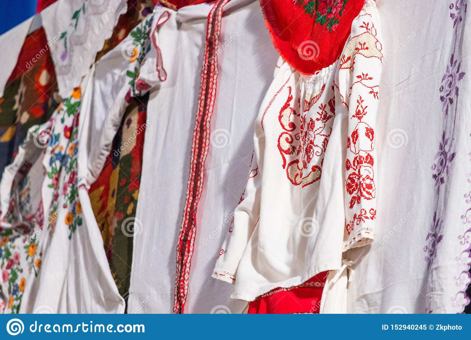 Detail of traditional folkloric costume of Romanian dancers. Folklore of Romania