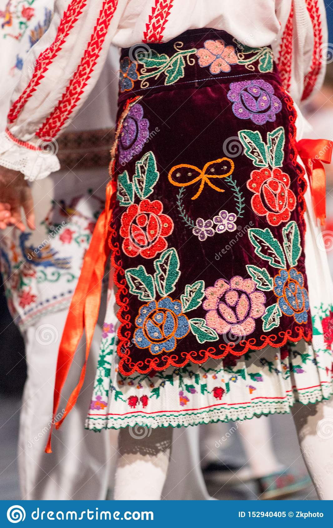 Detail of traditional folkloric costume of Romanian dancers perform a folk dance. Folklore of Romania