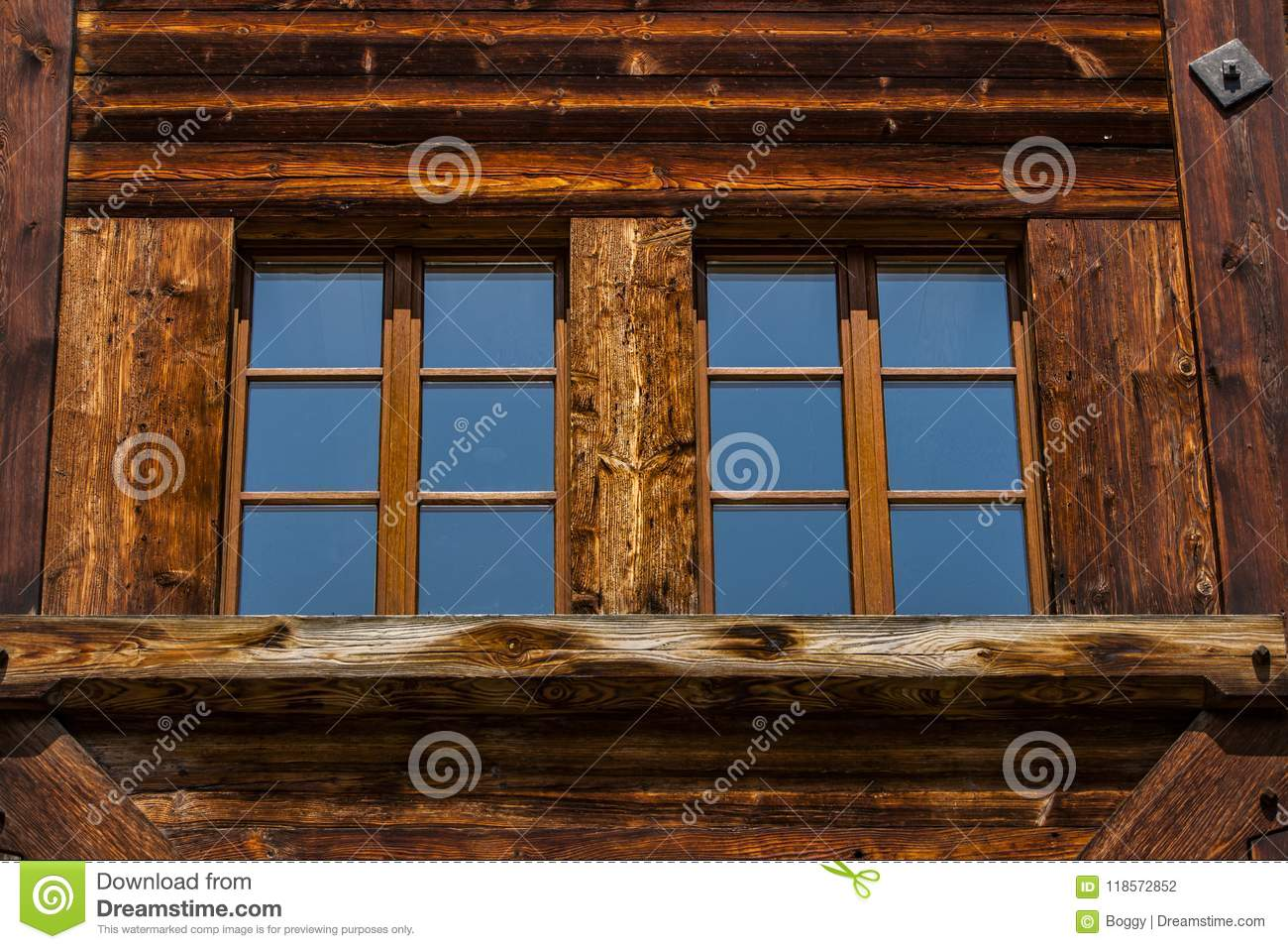 Detail Of The Traditional Swiss Chalet House Stock Photo