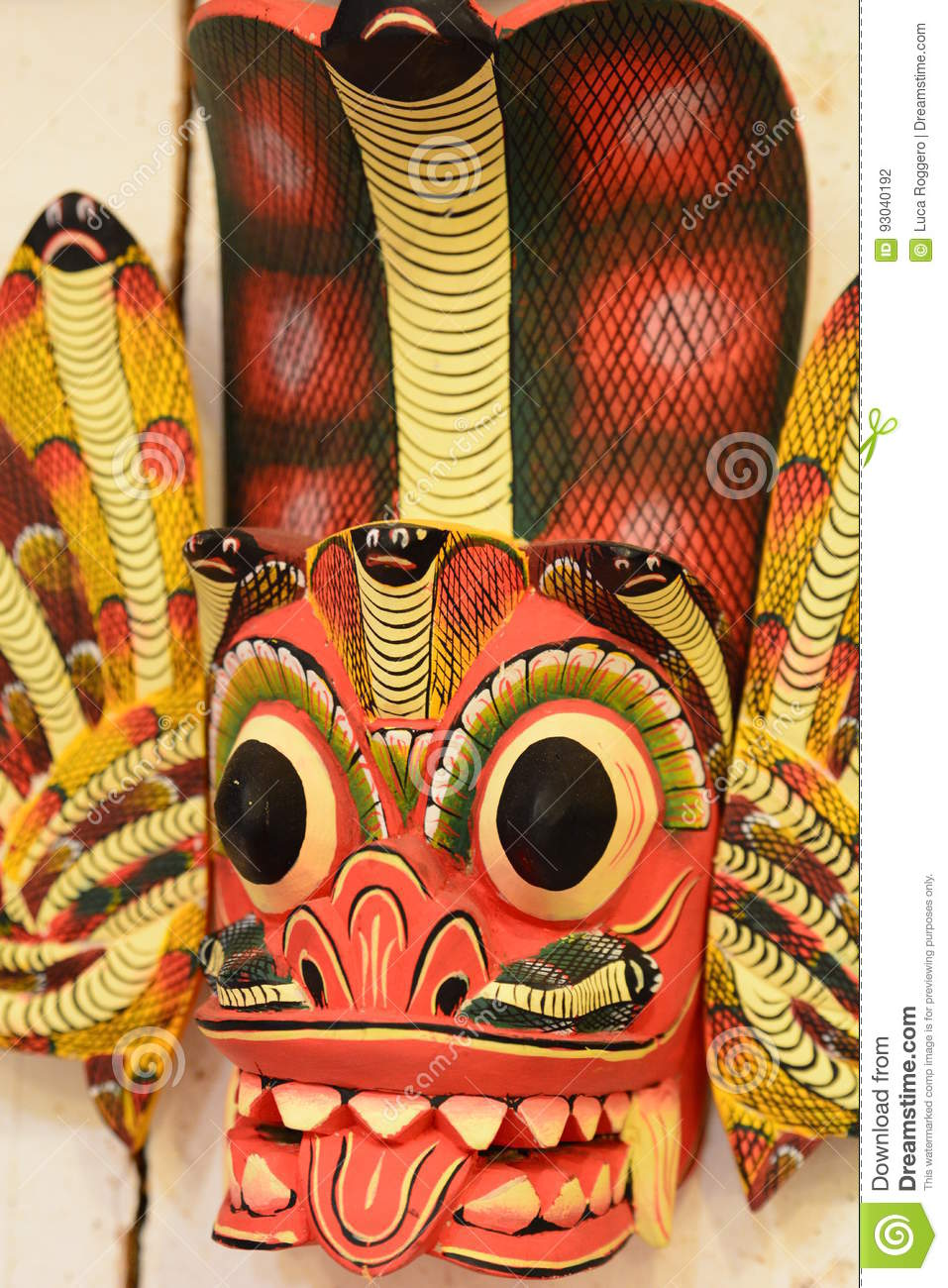 Detail Of Traditional Wooden Mask  Kandy  Sri Lanka Stock