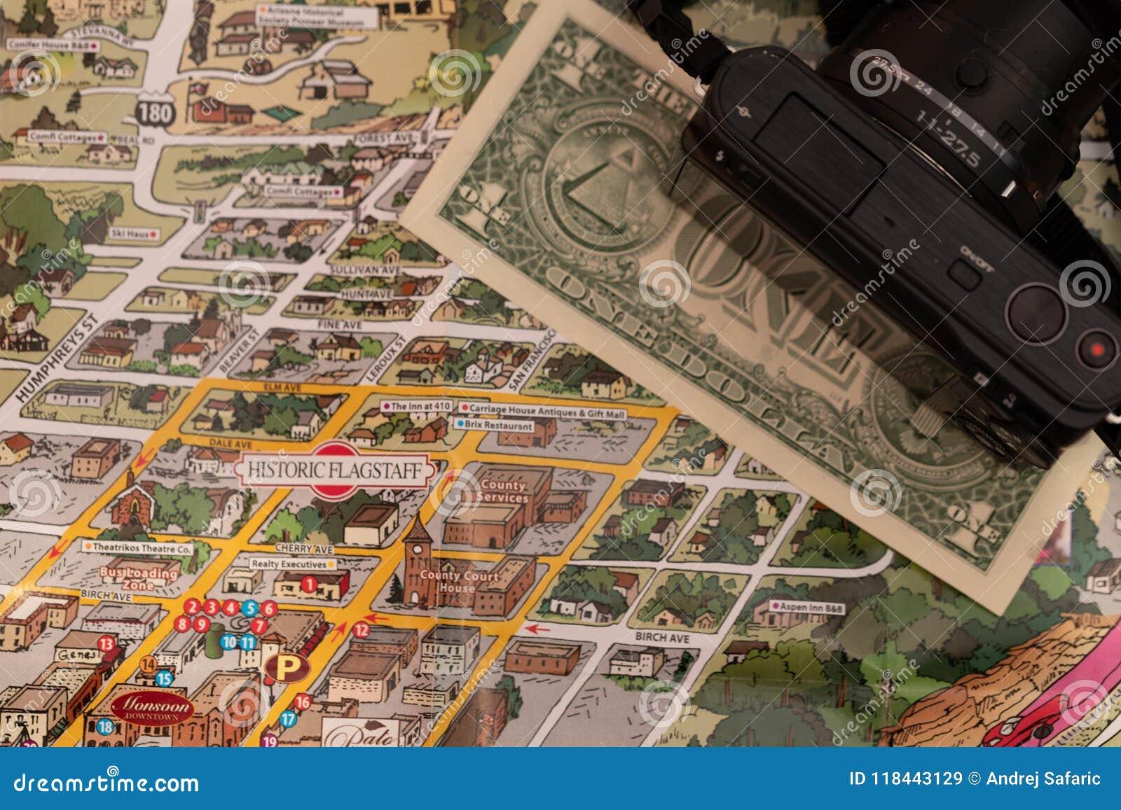 Detail Of Travel Map Flagstaff, Arizona, USA With One Dollar Bill ...