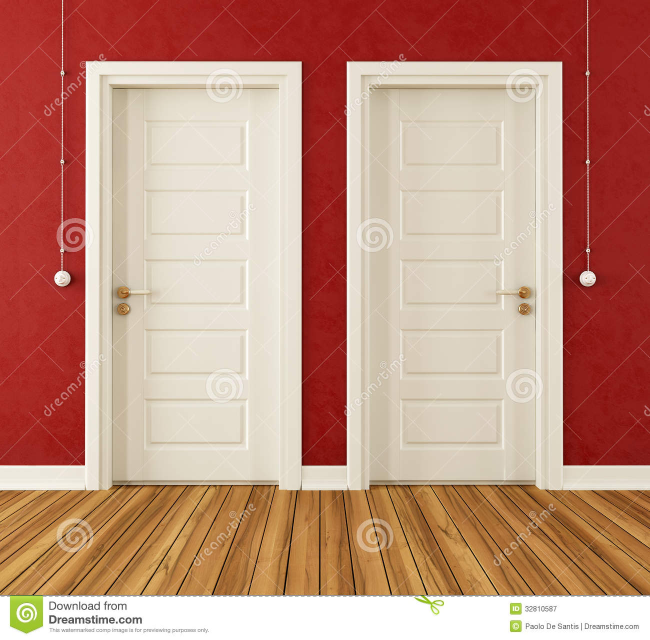 Stock Room Doors : Detail of two white doors royalty free stock photography