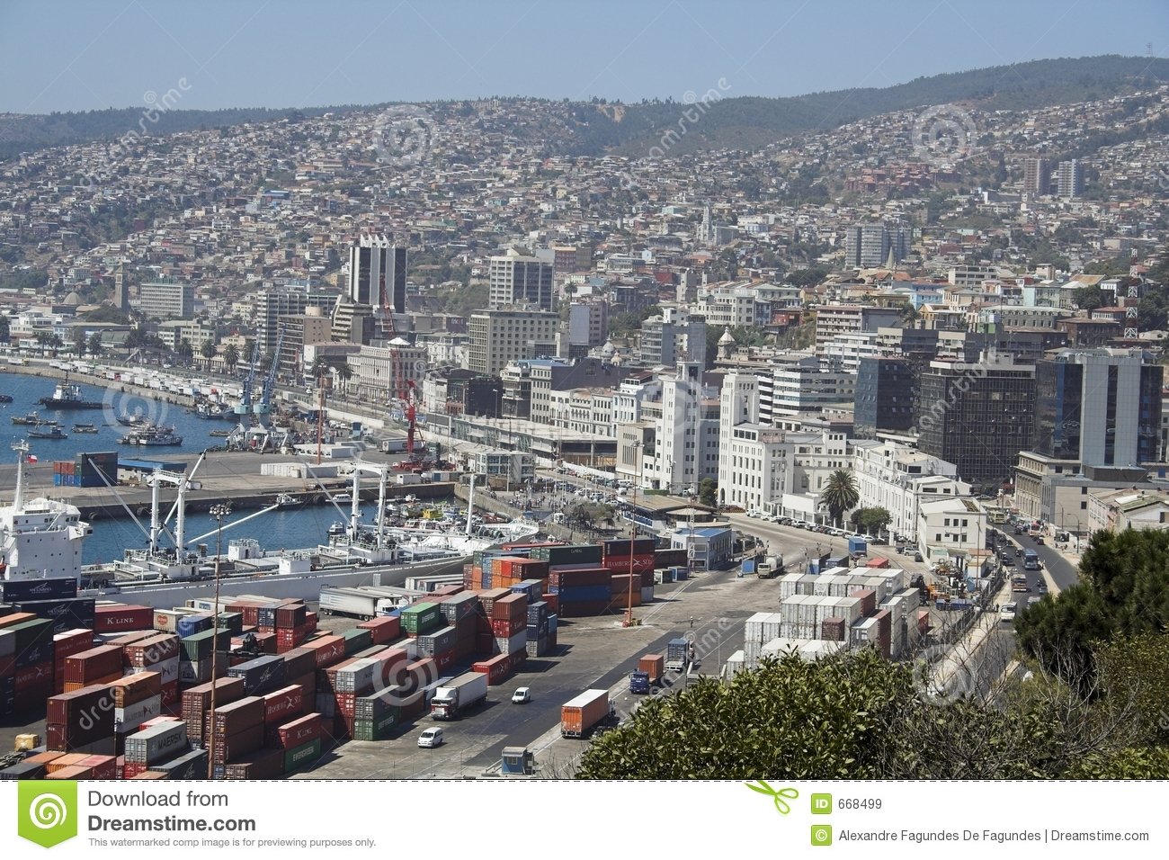 detail of valparaiso and the harbour royalty free stock