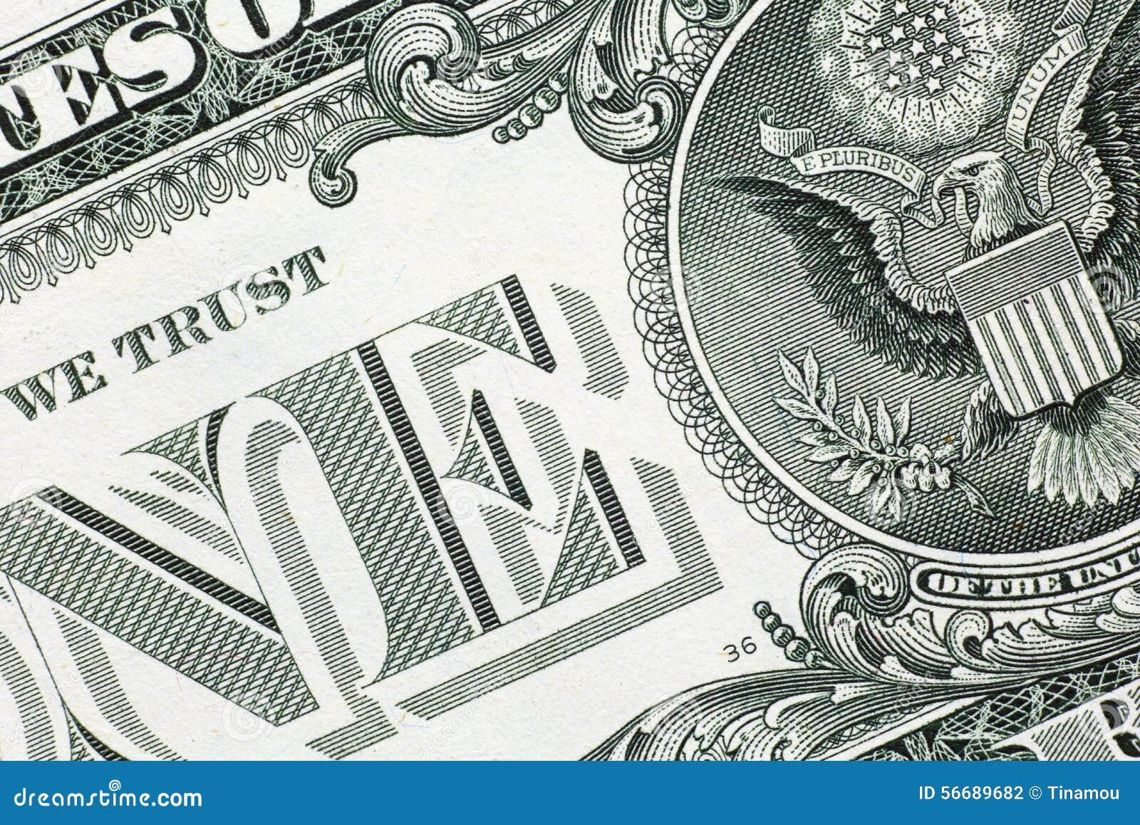 Detail van één ons dollarbankbiljet