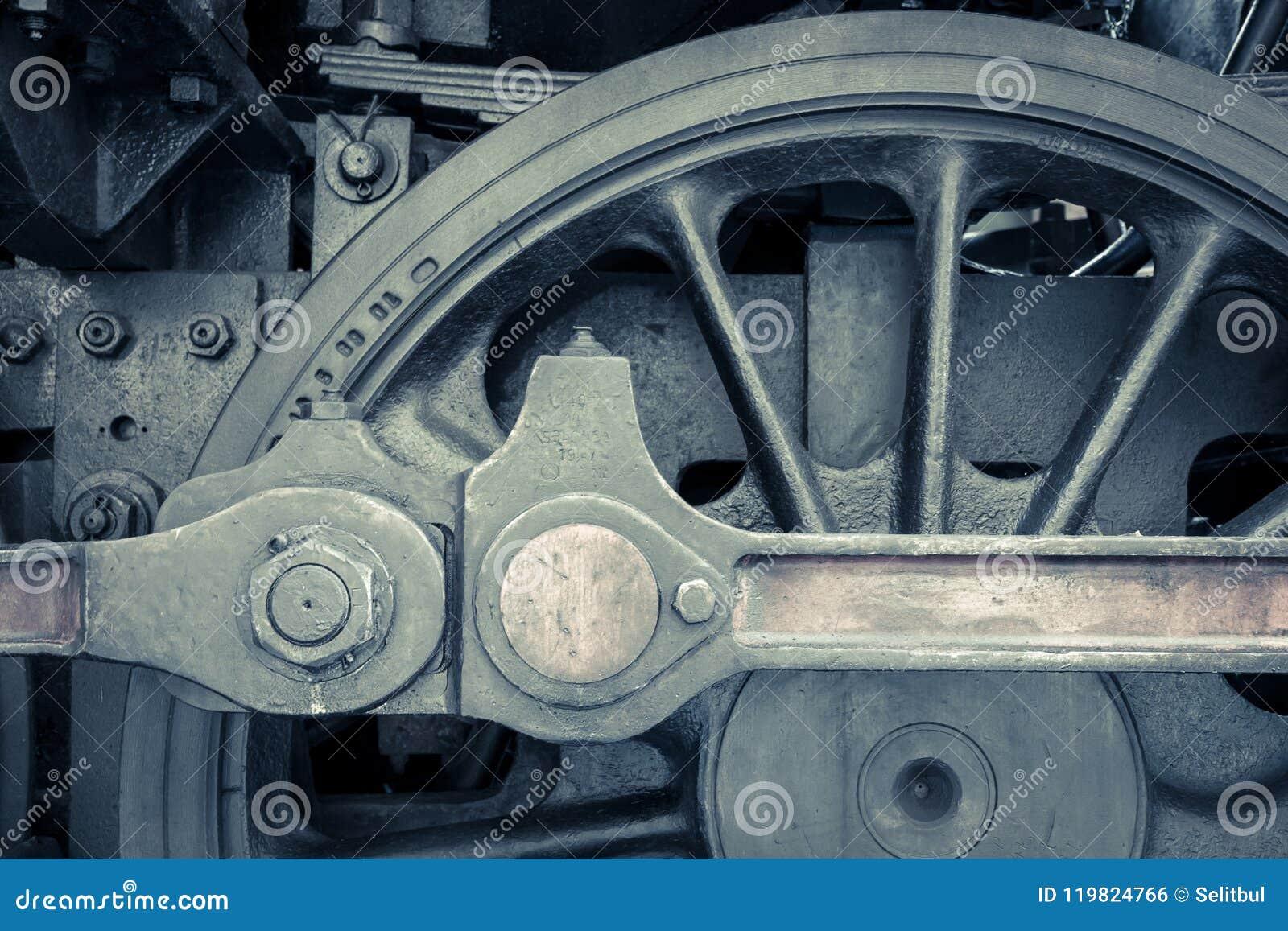 Detail van de machine van de stoomtrein