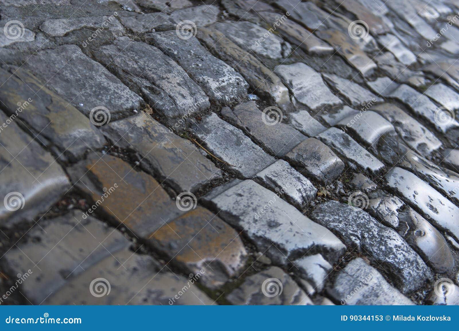 Detail van middeleeuwse steenbestrating in Trogir, Unesco-stad, Kroatië