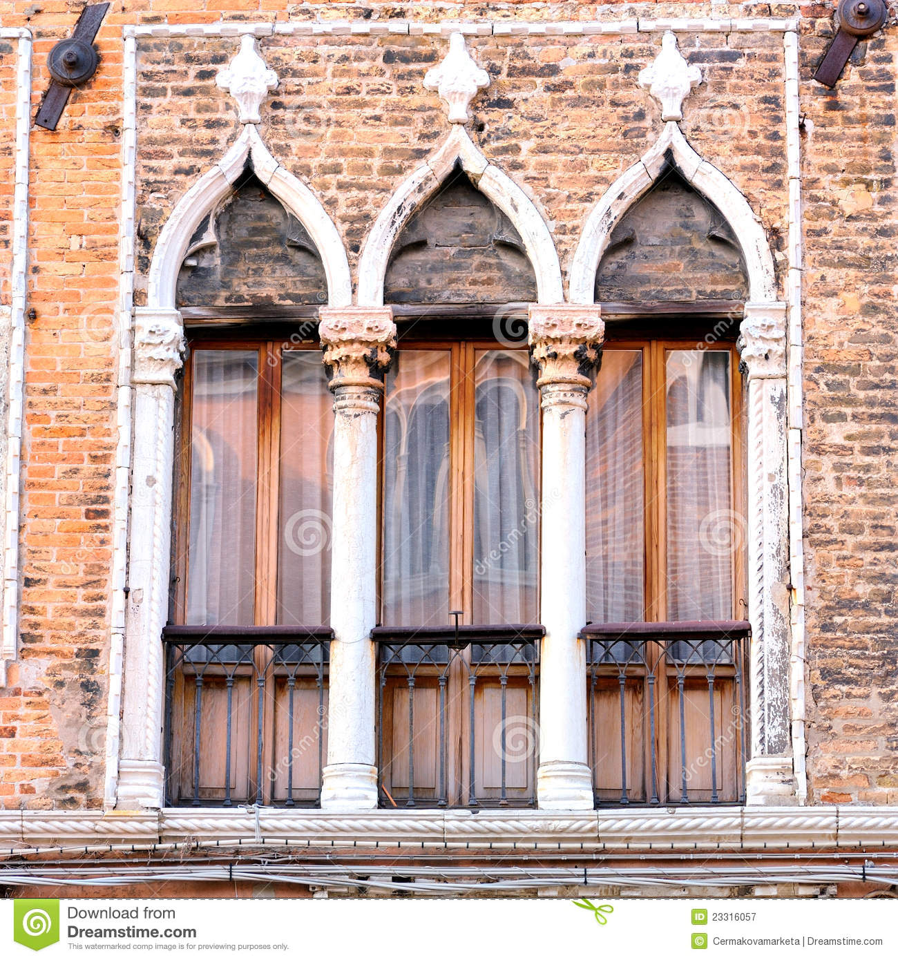 detail of venetian architecture venice italy royalty