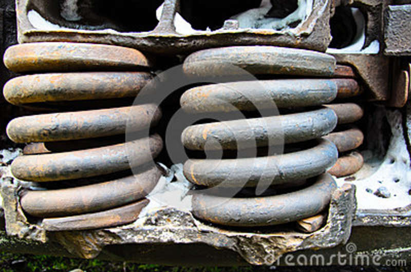 Detail view on a rusty springs of the old boxcar