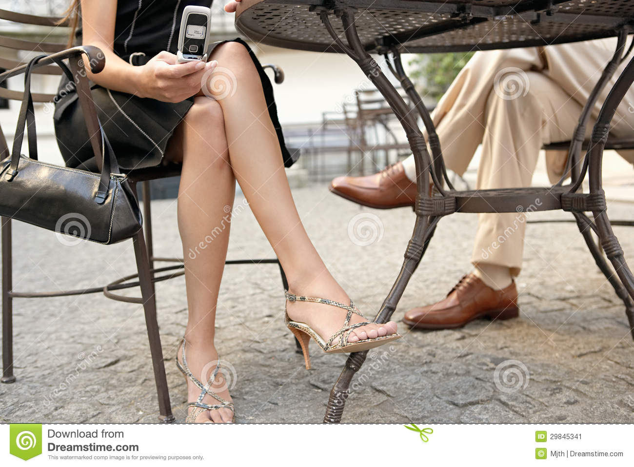 Business People Legs In Cafe With Technology Stock Image