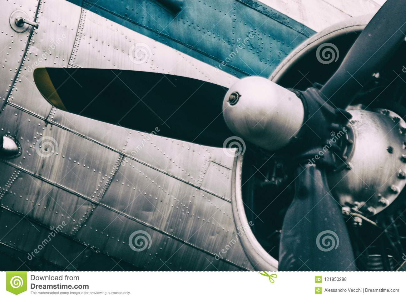 Background Of A Propeller Engine Of Vintage Metal Plane Stock Photo