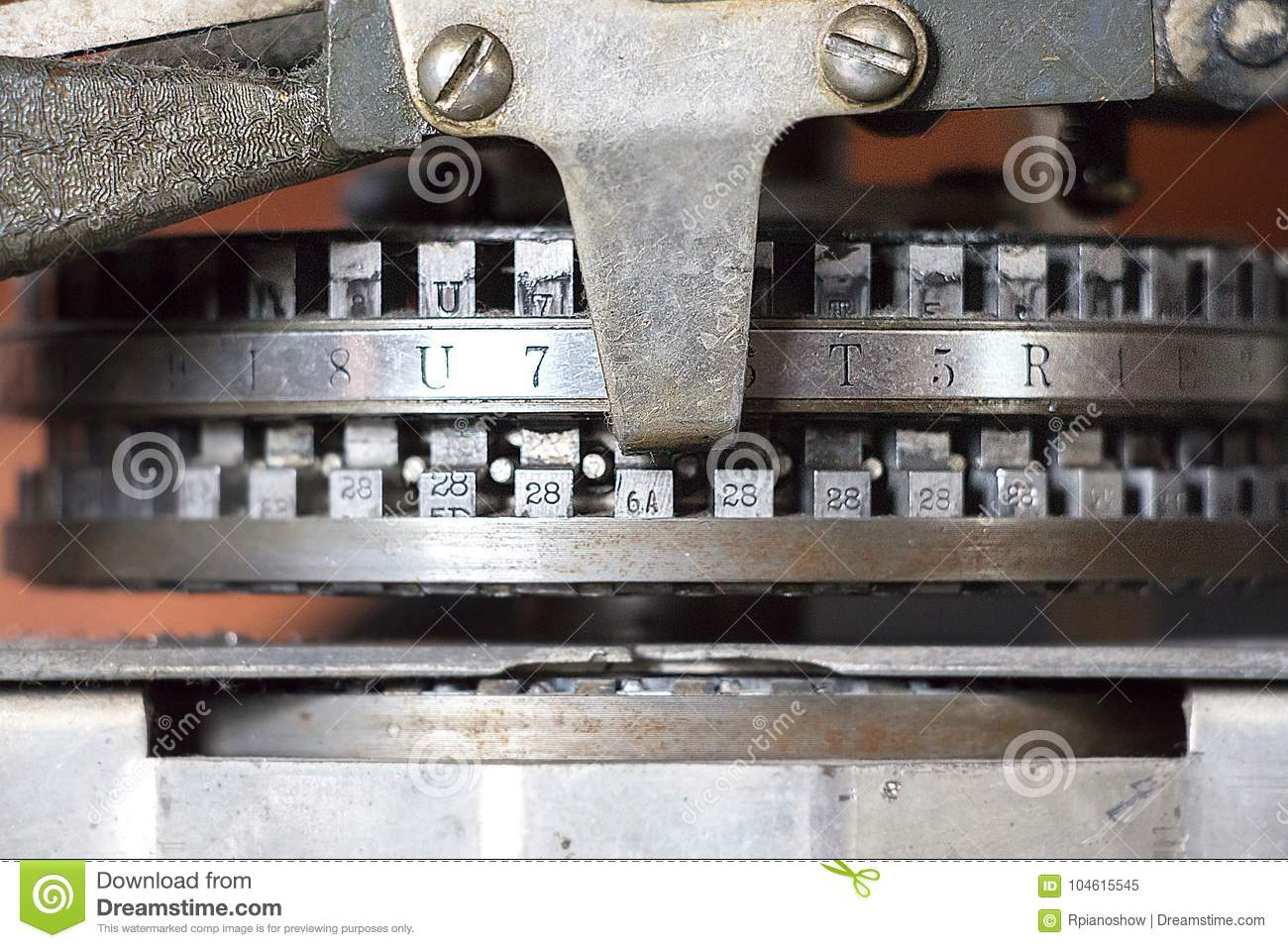 detail of a vintage dog tag maker machine stock image image of