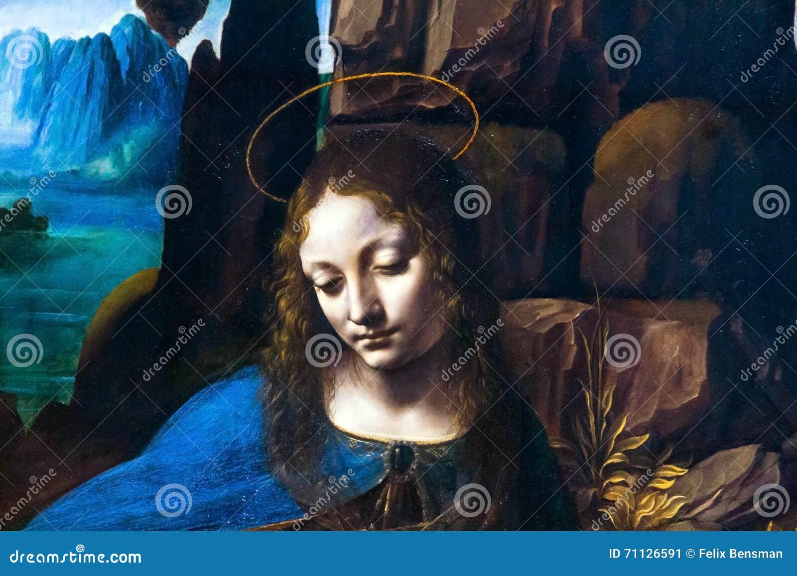 detail of the virgin of the rock by leonardo da vinciat