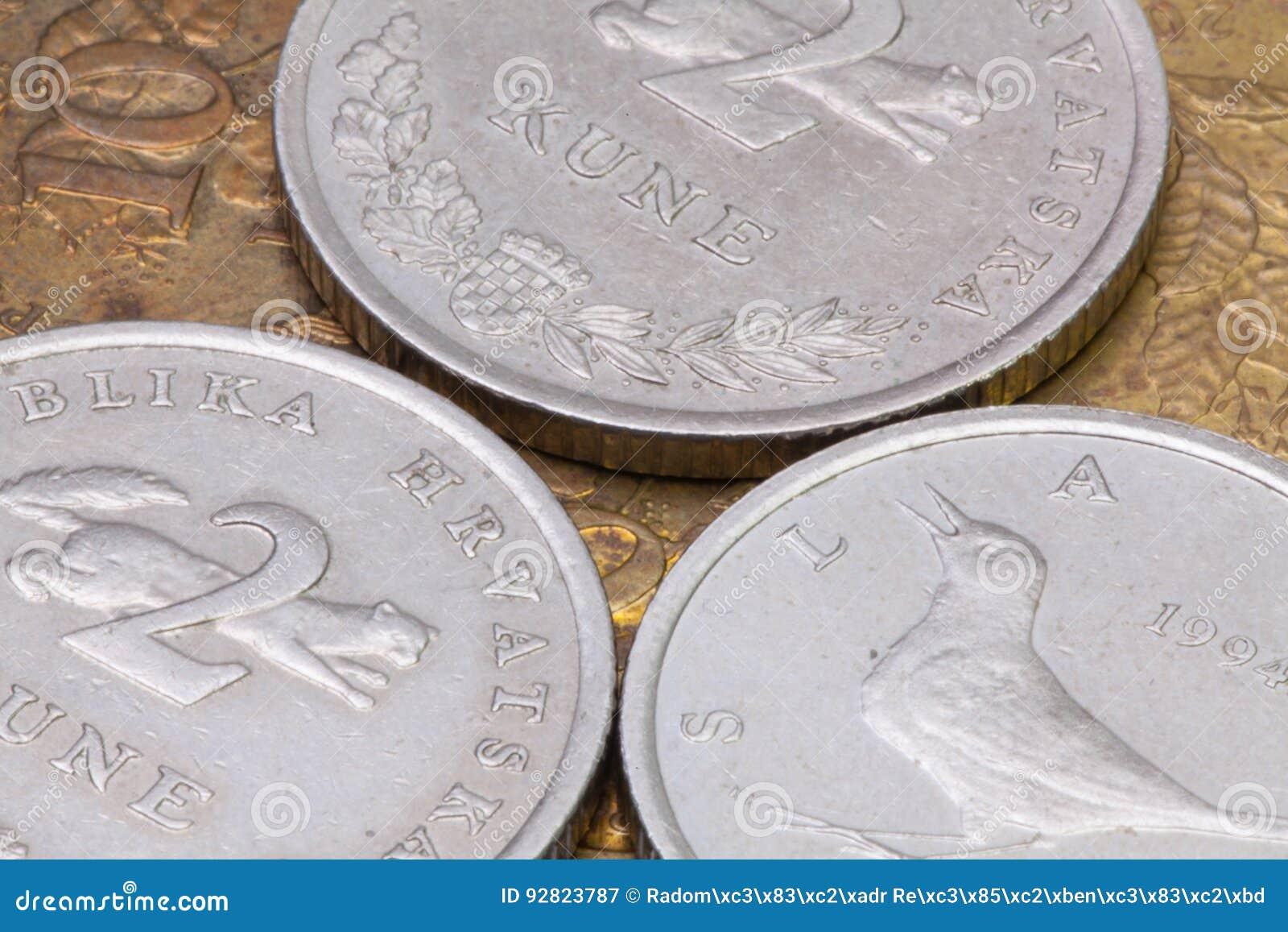 Detail Von Verschiedenen Münzen Von Kroatien Stockbild Bild Von
