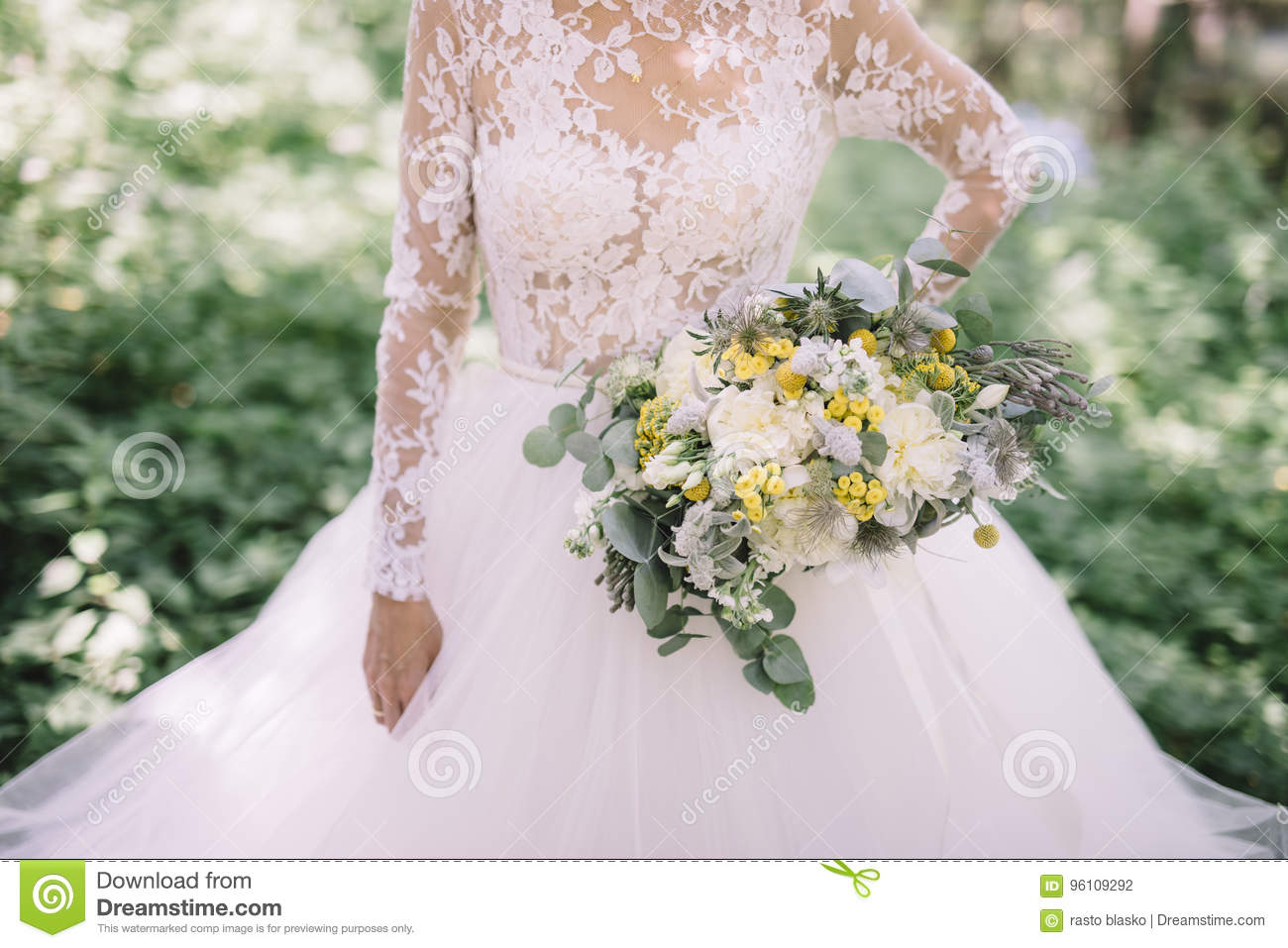 Wedding Bouquet From White Green And Yellow Flowers Stock Photo