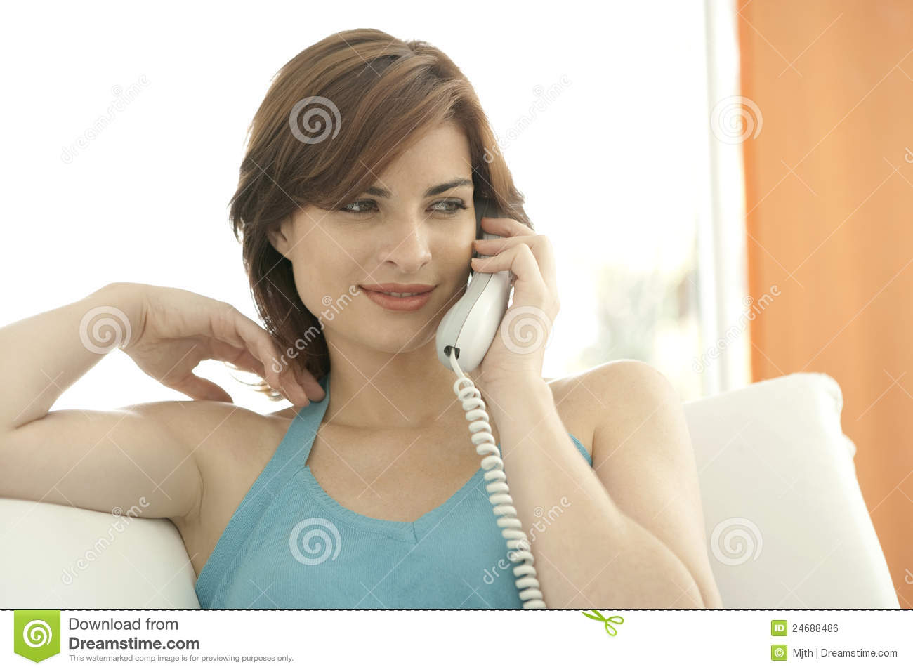 Detail Of Woman Making A Phone Call Stock Photo Image