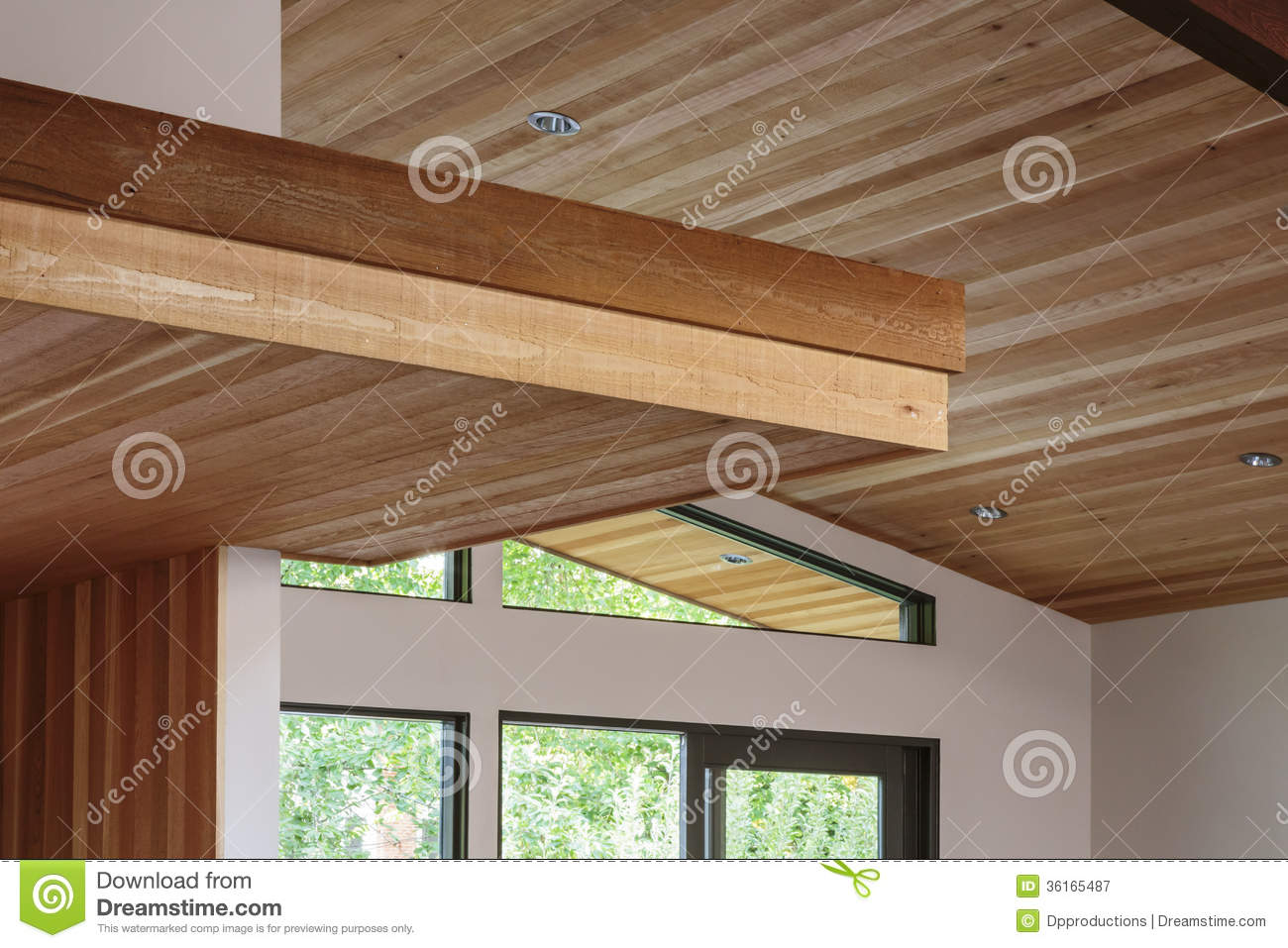 Detail Of Wood Beam Ceiling In A Modern House Entryway Royalty