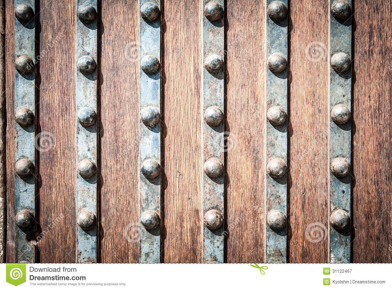 detail of wood and metal door with rivets stock image image of grungy pattern 31122467. Black Bedroom Furniture Sets. Home Design Ideas
