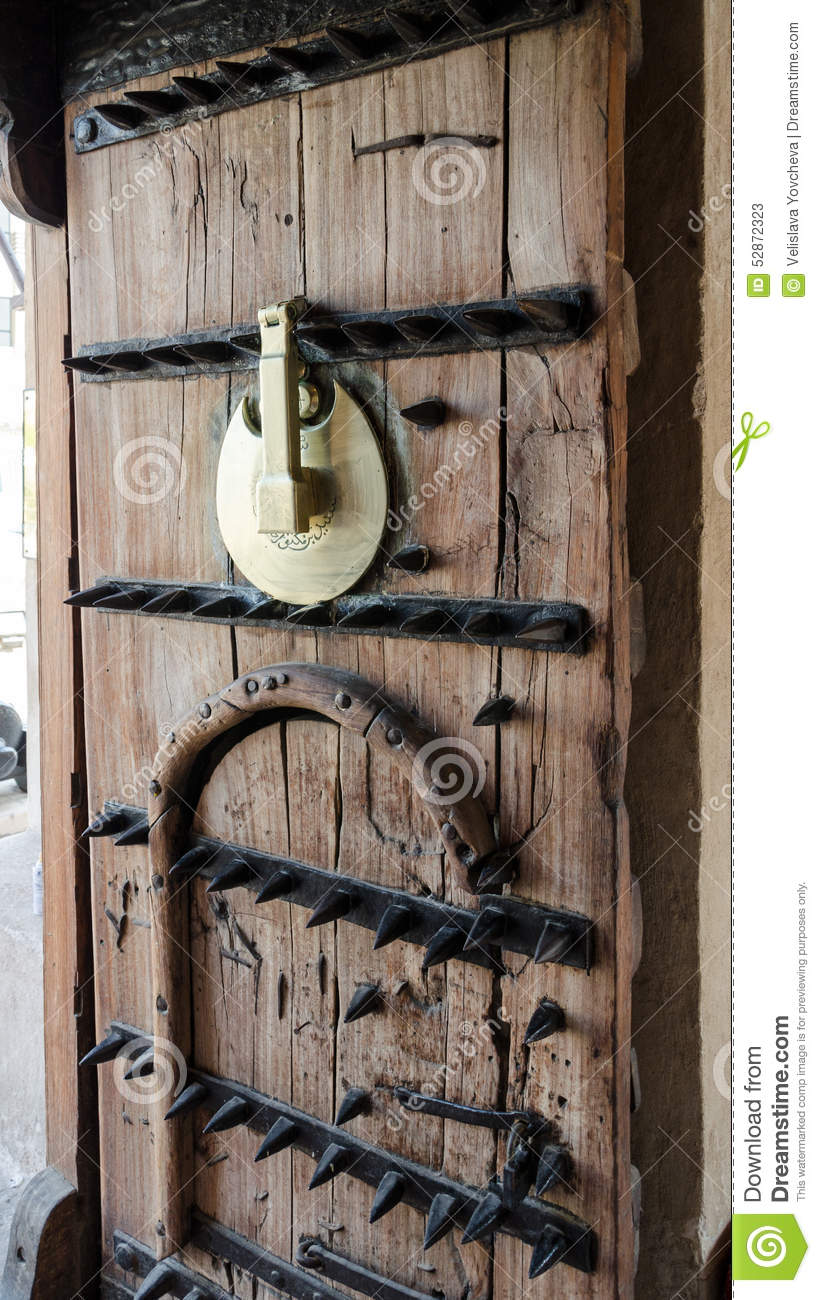 Detail Of Wood And Metal Old Door With Sharp Spikes, Dubai