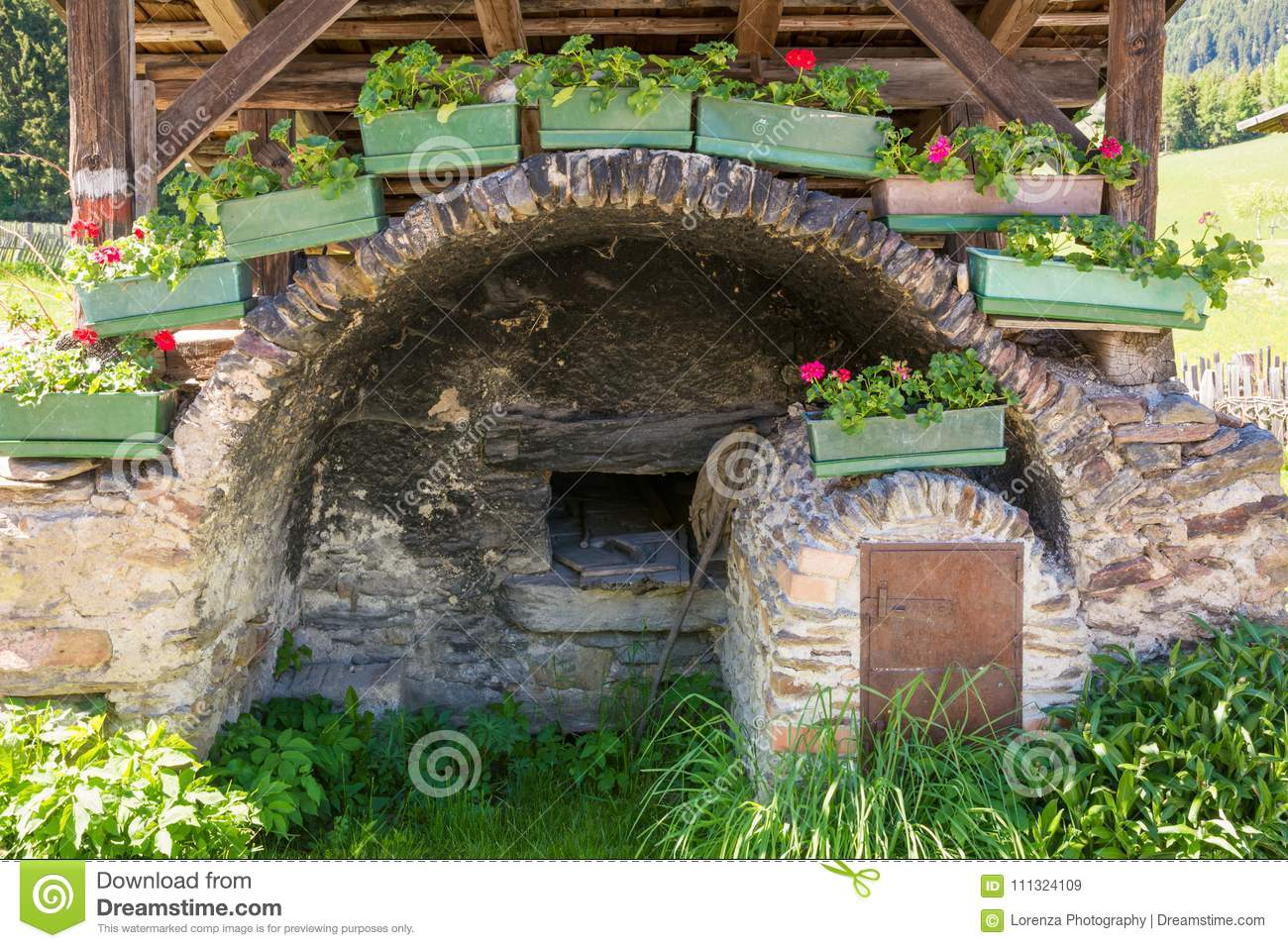 Detail of the wooden house typical in a alps village on Ridnaun Valley/Ridanna Valley - Racines country - near Sterzing/Vipiteno,