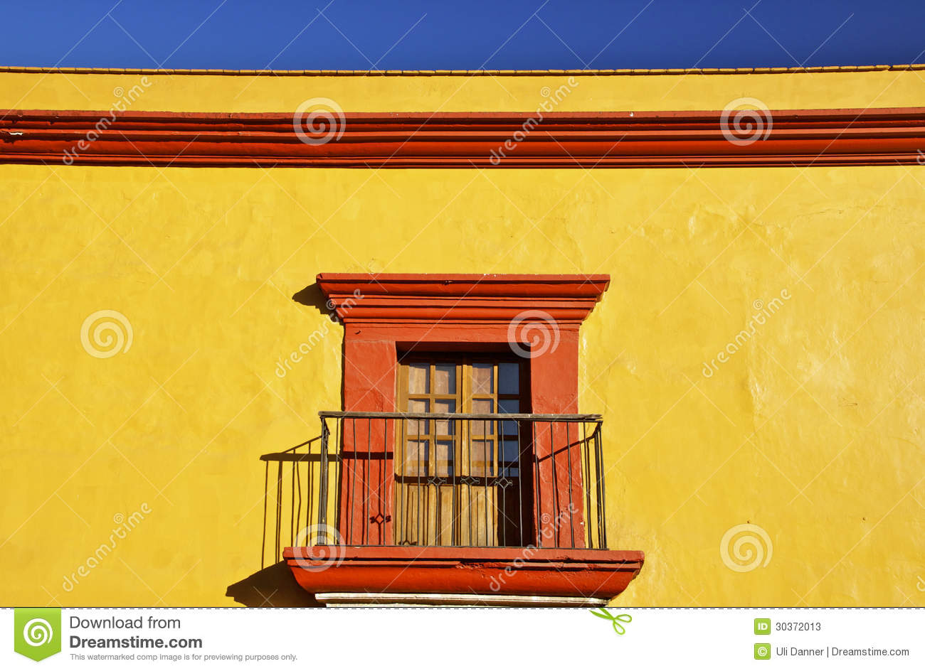 Detail Of Yellow Mexican Colonial House Stock Photos