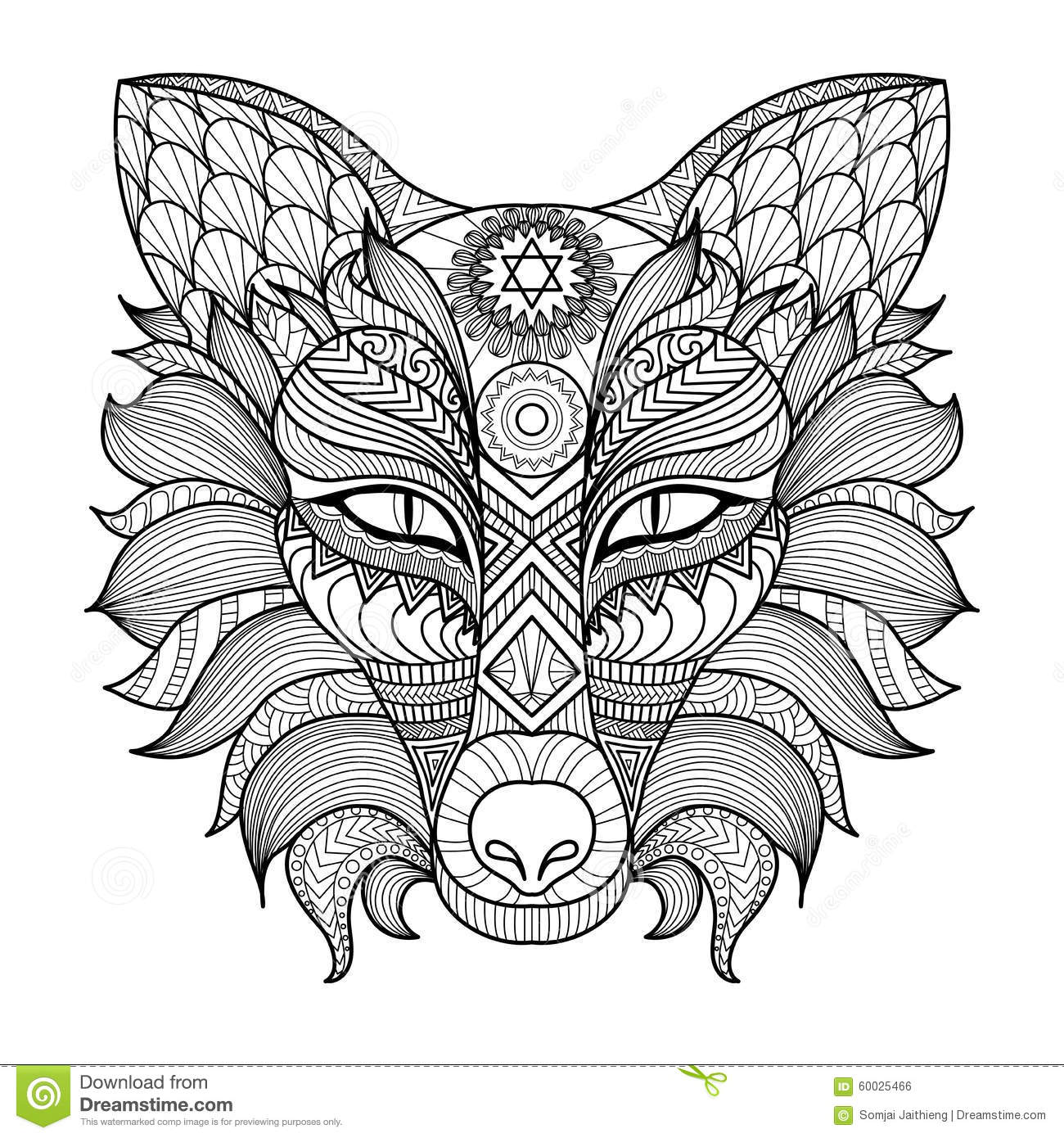 Detail Zentangle Fox Coloring Page Stock Vector