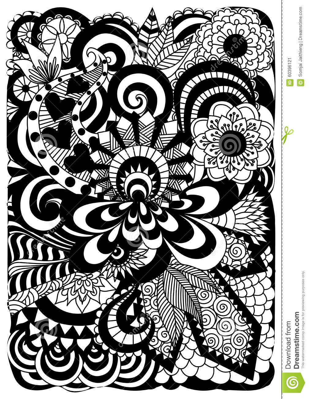 Detailed Abstract Zentangle Flowers Background Stock