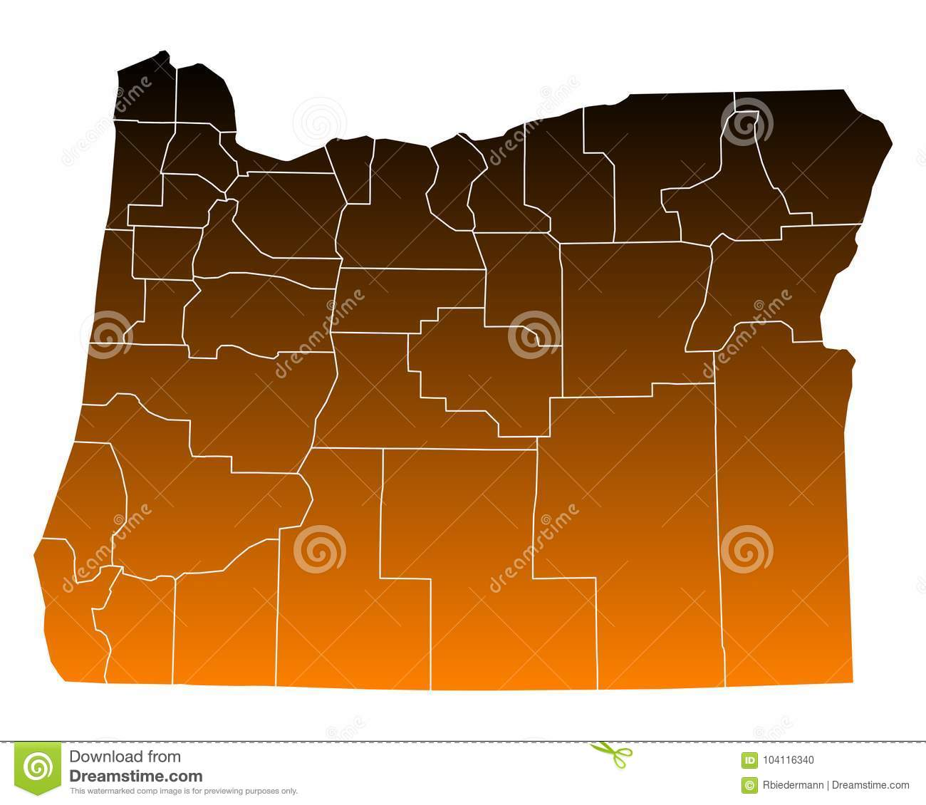Free Oregon Map.Map Of Oregon Stock Vector Illustration Of Counties 104116340