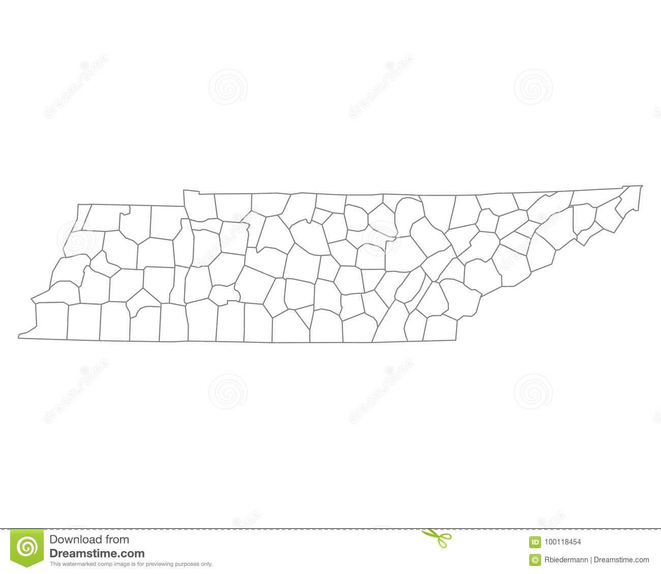 Map of Tennessee stock vector. Illustration of counties - 100118454