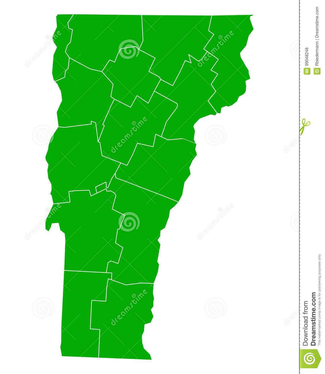 Map of Vermont stock vector. Illustration of county, federal - 99048248