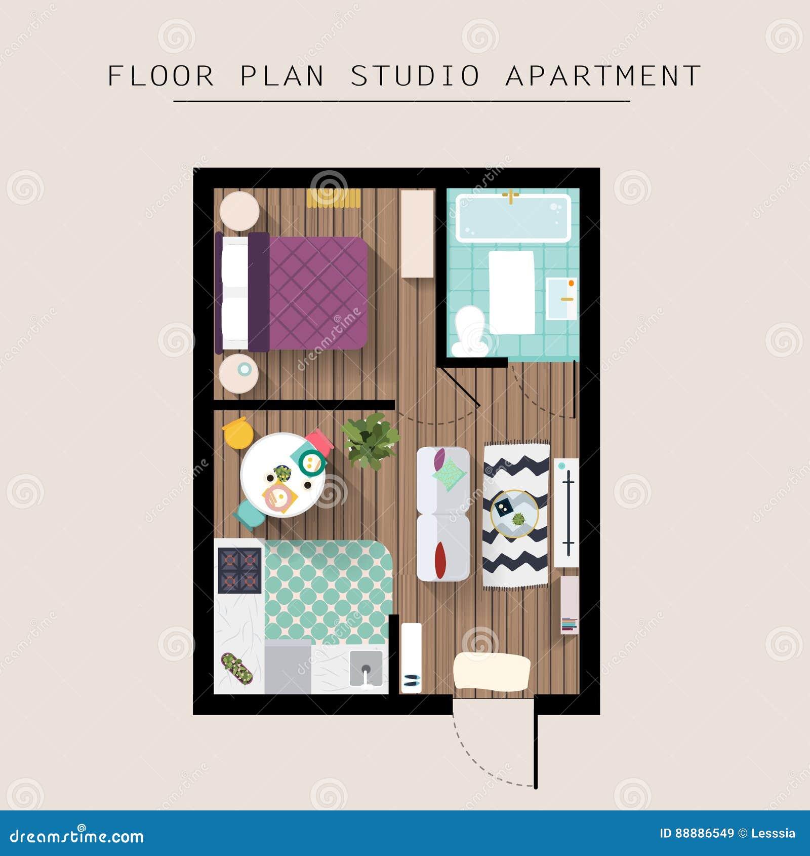 Detailed apartment furniture overhead top view. Studio Apartment