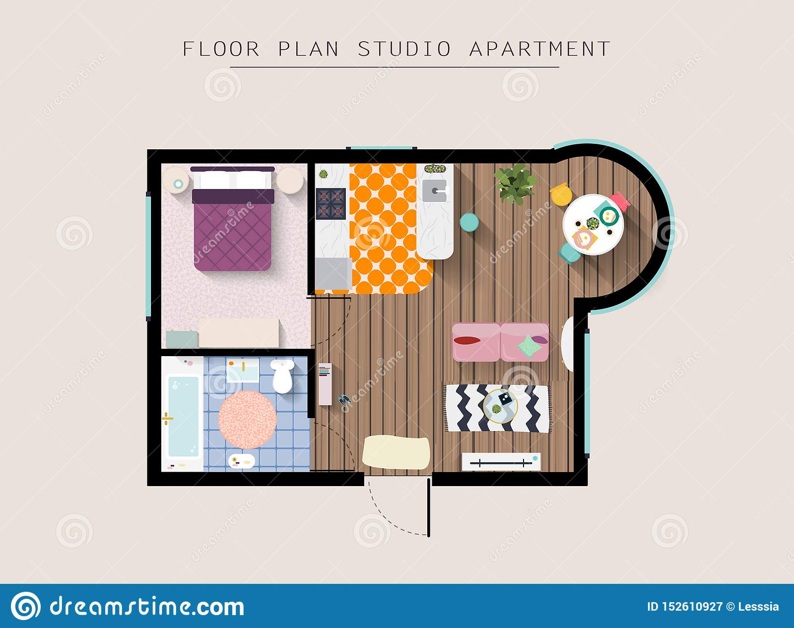Detailed apartment furniture overhead top view. Studio Apartment With One Bedroom. Flat style vector illustration