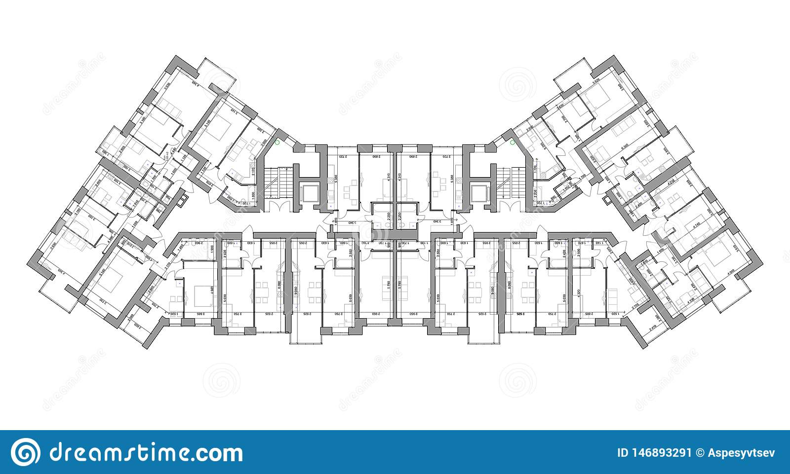 Detailed architectural floor plan, appartment layout, blueprint. Vector