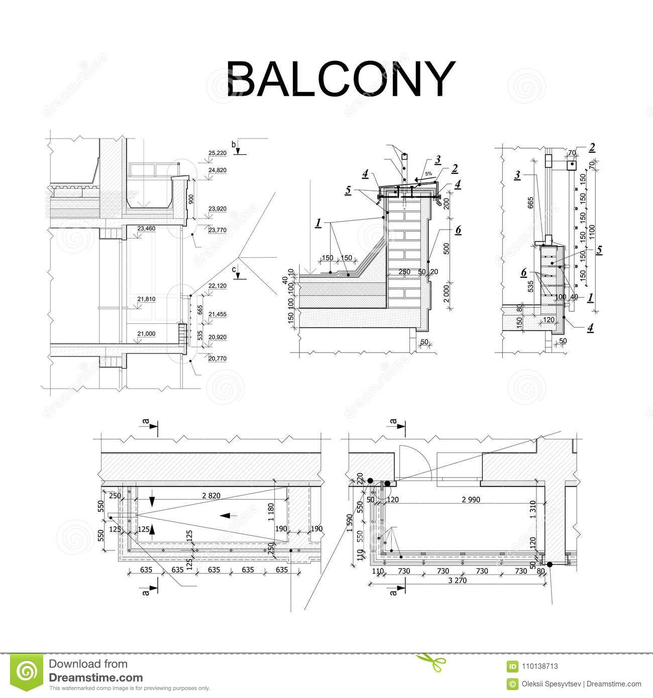 Detailed architectural plan blueprint of balcony vector stock detailed architectural plan blueprint of balcony vector malvernweather Image collections