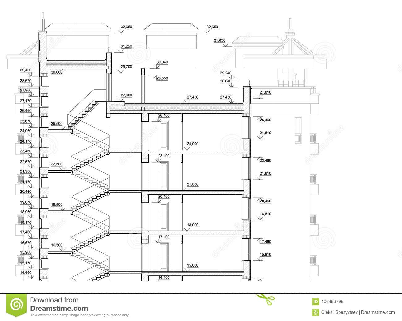 Detailed Architectural Plan Of Multistory Building. Cross ...