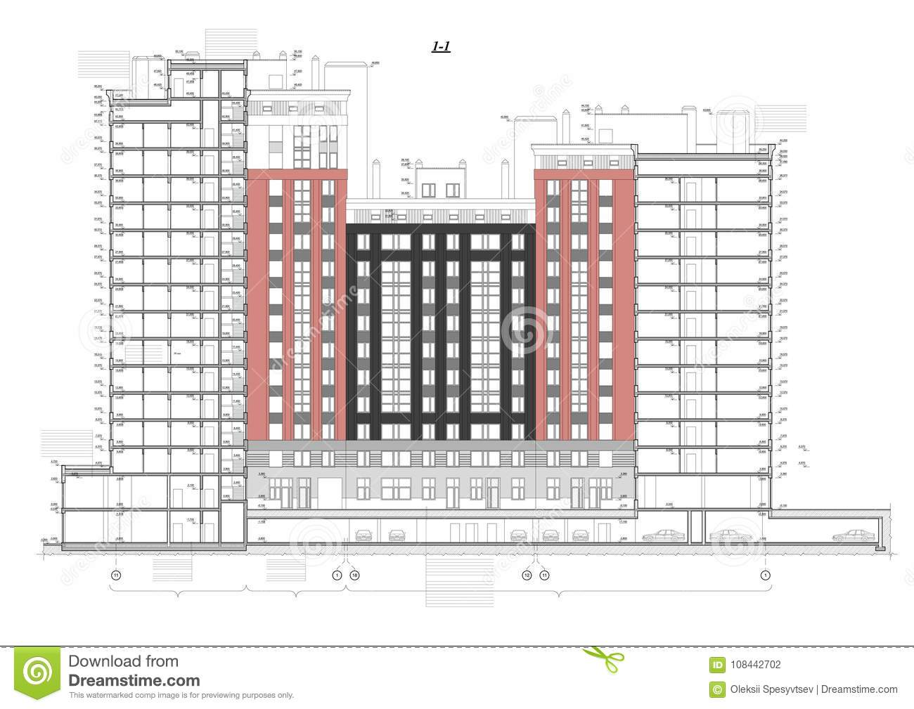 Detailed architectural plan of multistory building with underground garage parking. Cross-section view. Vector blueprint.