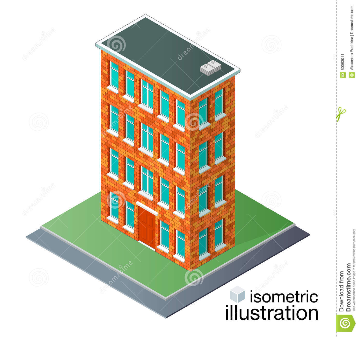 Brick Vector Picture Brick Veneers: Detailed Brick Building In The Isometric Projection. Stock