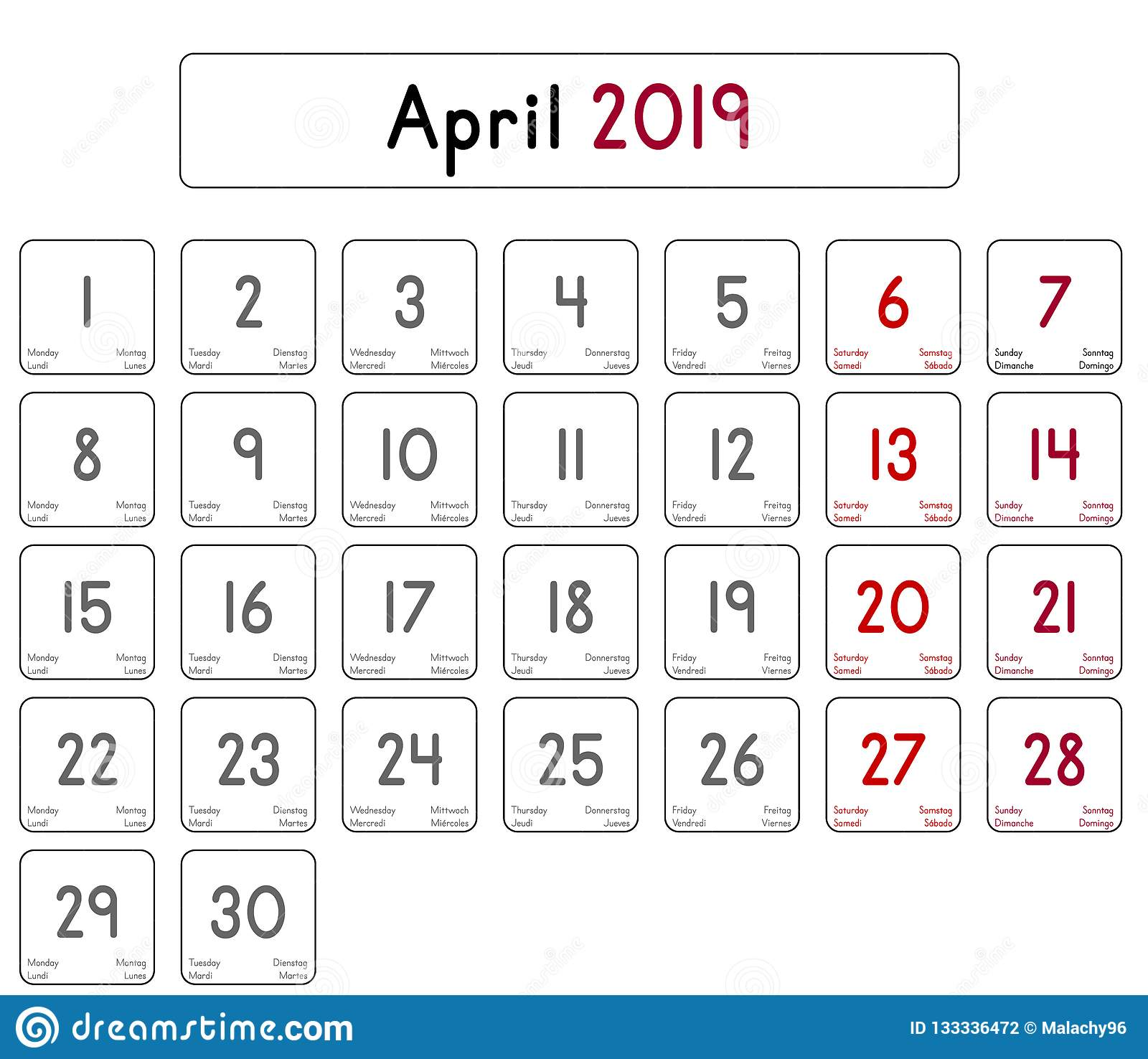 Calendar Of The Month Of April 2019 Stock Vector