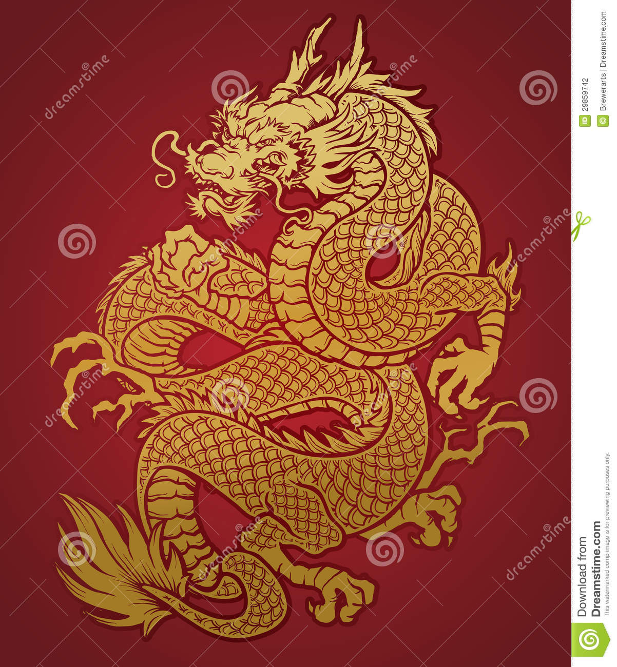 Coiled Chinese Dragon Gold On Red Stock Photography - Image: 29859742