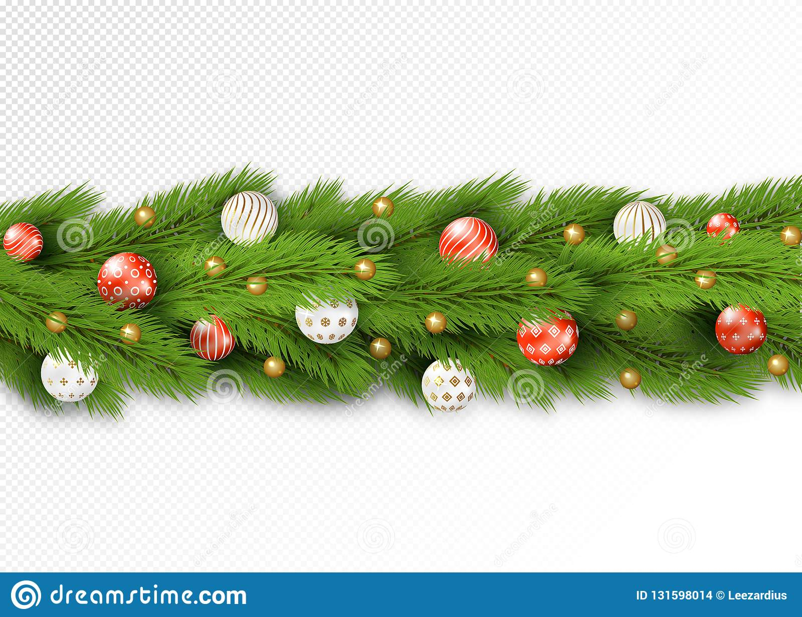 Detailed Christmas Garland Stock Vector Illustration Of Background